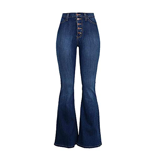OYSOHE Damen Jeans Hohe Taille Stretch Slim Hose Wadenlänge Hose Taste Jeans Flare-Hose(Dunkelblau,Large) - Leder-low Rise Flare Jeans