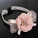 DeliV Halsband Blume Hundehalsband Haustiere Weiche Blume Halsbänder Halskette Anhänger für Hunde Katze Einstellbar, Rosa, S