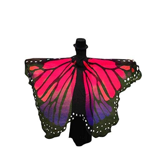 Schmetterling Kostüm, Dasongff Damen Weiches Gewebe Pfau Schmetterling Flügel Schal Umschlagtücher Nymphe Pixie Poncho Kostüm Zubehör für Show / Daily / Party (197*125CM, Rose rot)