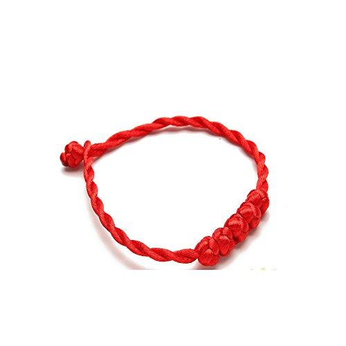 Pulsera roja mariposa asiática estilo vintage hecha a mano tejido pulsera para hombres mujeres con la suerte protección pulsera