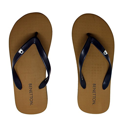 United Colors Of Benetton Navy Olive Flip Flops For Men