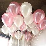 PuTwo Luftballons 100 stk Ø ca. 27cm Rosa Weiß Party Dekoration für Hochzeit Geburtstag – Rosa/Weiß …