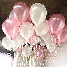 PuTwo Globos 100 Piezas 12 inch Látex balloons para Fiesta de Cumpleaños del decoraciones de la boda - Rosa y Blanco