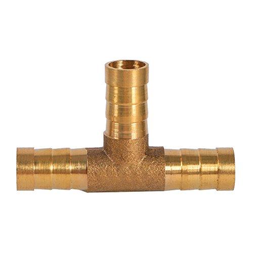 Qiilu Messing T Stück 3 Way Kraftstoffschlauch Joiner Connector Für Druckluft Öl Gasrohr(8mm)