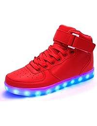 Firstmall-LED Chaussures High Top 7 Couleur Unisexe garçons et filles enfants USB Charge LED Lumière Lumineux Clignotants Chaussures de Sports Baskets