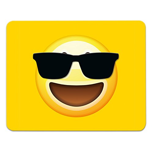 Addies Mousepad Emoji/Emoticons. Sehr schönes Mauspad Motiv in feiner Cellophan Geschenk-Verpackung mit Kautschuk Untermaterial, 240x190mm, Motiv-Sonnenbrille