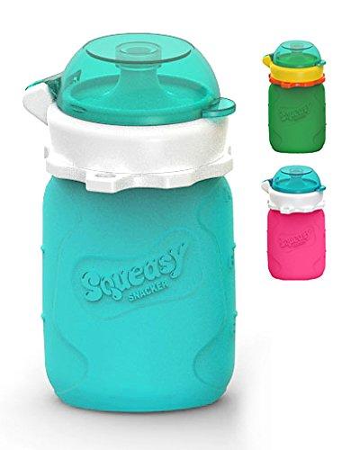 Mini Squeasy Snacker 100ml Sacchetto Cibo Riutilizzabile Morbido Silicone per Frullati Baby Pappa Frutta Yogurt Fatti Casa