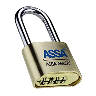 Assa Abloy SRB37 4 Dial Bottom Resettable Combination Brass Padlock with 2-1/4-Inch Hardened Steel Shackle and 10,000 Potential Combinations