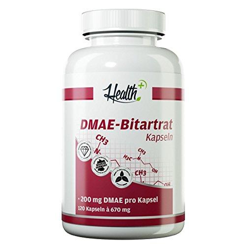 HEALTH+ DMAE-Bitartrat - 120 Kapseln, 200 mg Dimethylaminoethanol zur Unterstützung der gesunden Gehirnleistung, Nootropikum - effektiver Konzentrations-Booster, Vorstufe von Acetylcholin