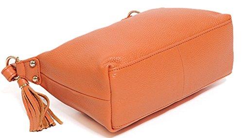 Keshi Leder neuer Stil Damen Handtaschen, Hobo-Bags, Schultertaschen, Beutel, Beuteltaschen, Trend-Bags, Velours, Veloursleder, Wildleder, Tasche Orange