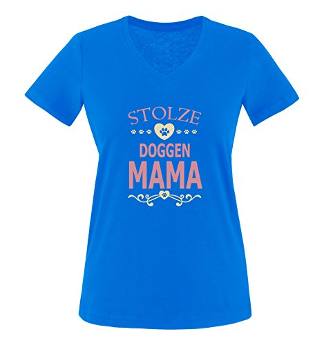 Herz Womens V-neck T-shirt (Comedy Shirts - Stolze Doggen Mama - Herz - Damen V-Neck T-Shirt - Royalblau/Rosa-Beige Gr. L)