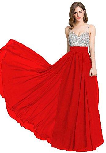 Beauty-Emily col en V avec bandes de robes de soirée longue Rouge - Rouge