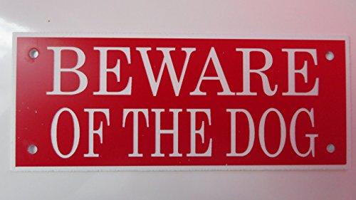 Expressions Engravers Acryl Beware of The Dog 12,7x 5,1cm Schild in Rot mit Weiß Drucken.