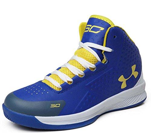 Scarpe Da Basket Da Uomo Hi-top Sneaker Traspirante Aumentate Le Scarpe Sportive Da Esterno Blue