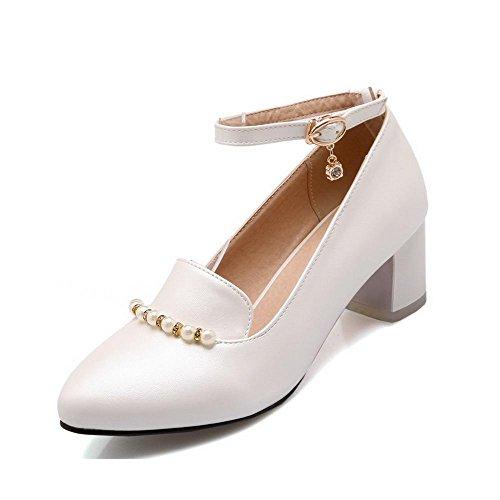 AllhqFashion Damen Schnalle Mittler Absatz Pu Rein Spitz Zehe Pumps Schuhe Weiß