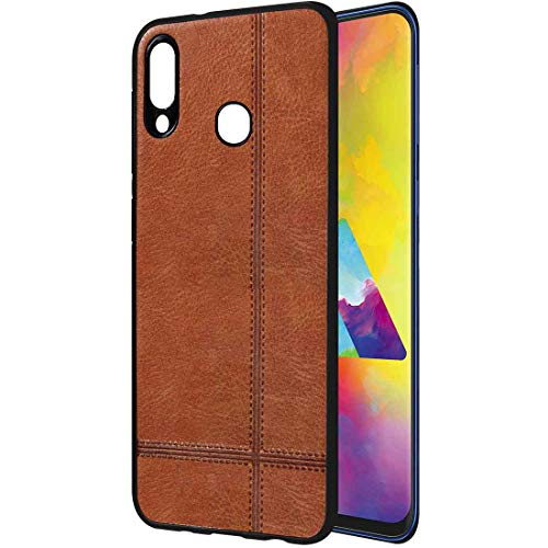 Casotec Premium Leather Finish Soft TPU Case Cover for Samsung Galaxy M20 – Brown