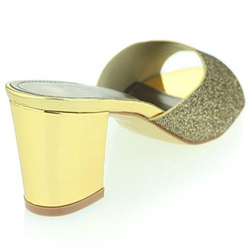 Femmes Dames Brillante Enfiler Diamante Talon Bloc Soir Fête Bal de Promo Des Sandales Chaussures Taille Or