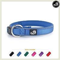 [Gesponsert]Pets&Partner Hundehalsband aus Neopren, reflektierendes Halsband in verschiedenen Farben für große und kleine Hunde, S, Marine Blau