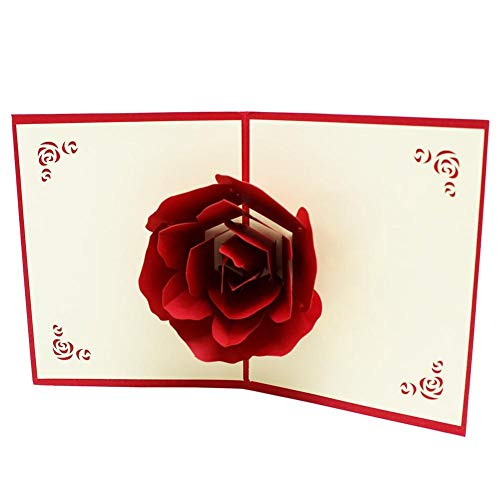 TONKOW Segen Karten Hochzeitsandenken Handwerk Vielen Dank, DASS Sie Drucken Blumenartpostkarte Papercraft Handmade Hochzeitskarten Rose 3D Karten Pop Up (Um Orte, Einladungen)