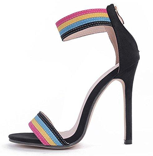 Aisun Femme Sexy Multicolore Fermeture Eclaire Sandales Noir
