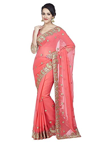 Indian E Fashion Women\'s Faux Georgette party wear Fancy Saree With Blouse Piece (DARPANPINK-sarees for women party wear_Pink)