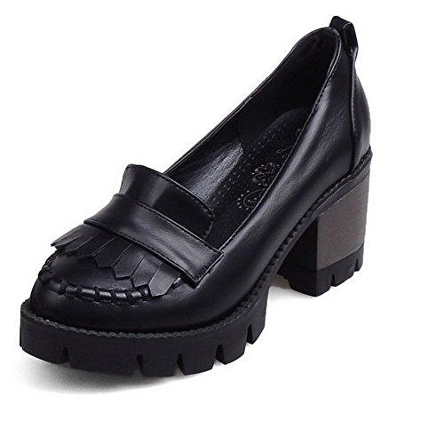 AllhqFashion Femme Rond Tire Pu Cuir Couleur Unie à Talon Correct Chaussures Légeres Noir