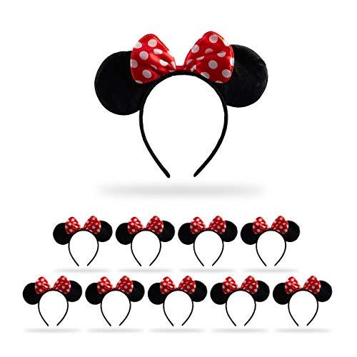 Relaxdays 10 x Haarreif Maus, Mit Mäuseohren & gepunkteter Schleife, Öhrchenhaarreif, Kopfschmuck Maus Kostüm, schwarz/rot