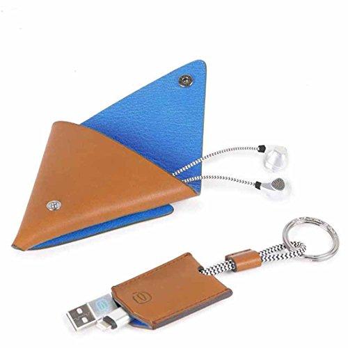 Piquadro bagmotic cofanetto regalo con custodia a triangolo e portachiavi - acbox12bm (blu)