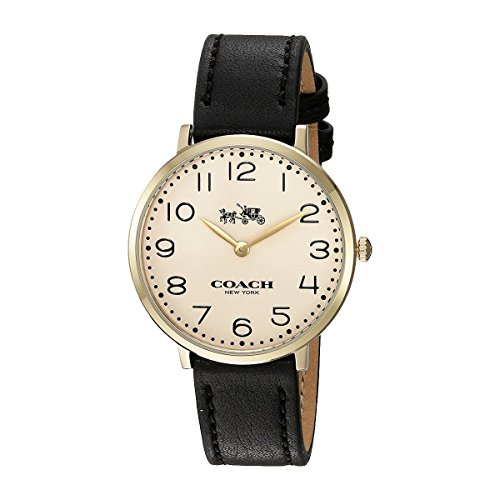 Beige Dial Women's Analog Casual Quartz Coach Watch Slim Easton 14502683