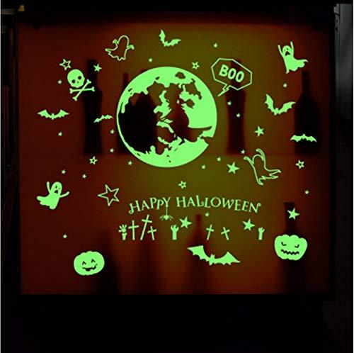 Xzfddn Glow In The Dark Wandaufkleber Leuchtende Fledermaus Kürbis Geist Happy Halloween Wandtattoos Kinderzimmer Kinderzimmer Fenster Glas Dekor Kunst