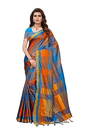 Art Decor Sarees Cotton Silk Saree with Blouse Piece (Pack of 2) (E Kart_Orange & Blue_Free Size)