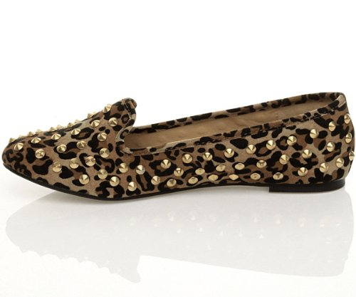 Ajvani, Pantofole donna Marrone (Leopard Animal Print)