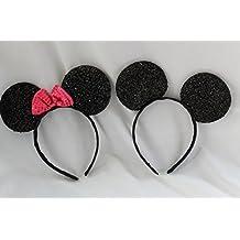 I x Brillante Negro con Rosa Brillante Lazo Minnie Mouse y 1 x A juego Mickey Mouse Suave Foam diadema orejas
