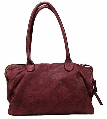 BZNA Bag Vanja beere Italy Designer Messenger Damen Handtasche Schultertasche Tasche Leder Shopper Neu - Leder Messenger Handtasche