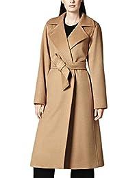 MissFox Donna Lungo Cammello Color Cappotto Invernali Slim Cappotti  Invernali Trench Parka con Cintura 8af4b726a23
