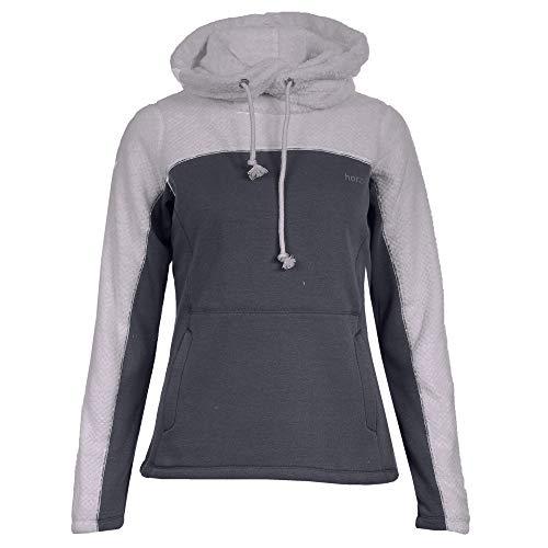 horze Luanna Fleece Womens Pullover Hoody UK 12 Reg Polar Grey Navy