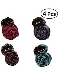 Frcolor Pinzas para el Pelo con diseño de Flor, Pinzas para el Pelo Antideslizantes, 4 Unidades