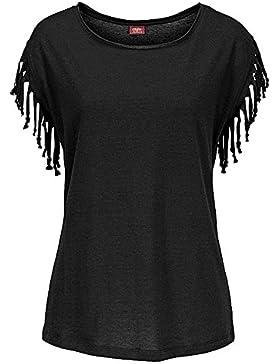 Mujer Cuello Redondo Borla Manga Corta Camisetas Color Sólido Delgado Casual T Shirt Blusas Camisas Tops Negro...