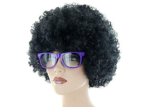 Alsino Disco Party Outfit 70er Retro (Kv-201) mit Mega Afro Perücke One Size Schwarz und intelligent wirkender Nerd-Brille in Lila