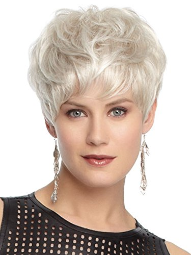 Mme européenne et de la mode américaine perruque de commerce extérieur cheveux courts perruque synthétique haute température fil d'argent perruque blanche