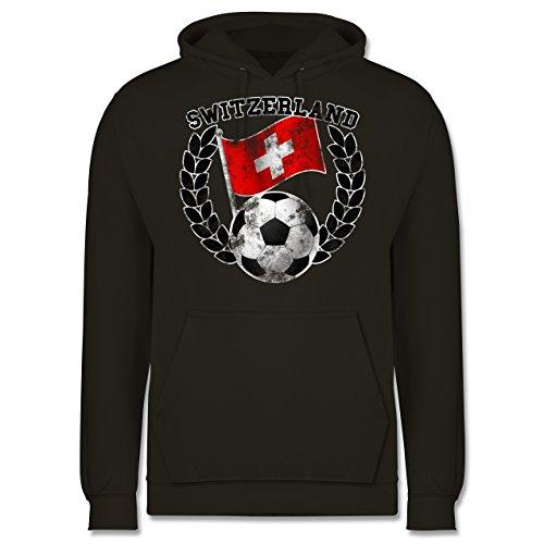 EM 2016 - Frankreich - Switzerland Flagge & Fußball Vintage - Männer Premium Kapuzenpullover / Hoodie Olivgrün