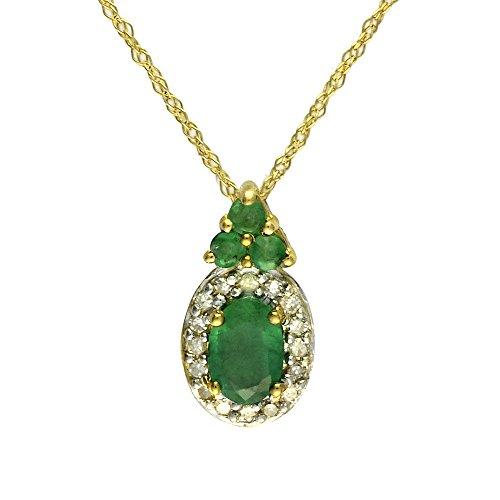 Ivy Gems Halskette 9 Karat (375) Gelbgold Smaragd und Diamant Anhänger mit Prince of Wales-Kette 46 cm (Smaragd Und White Gold Ohrringe)