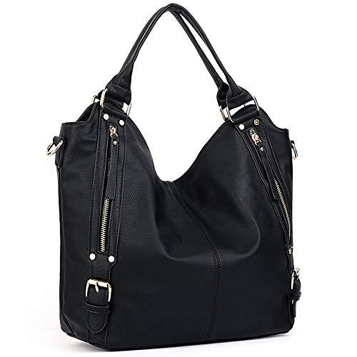 Tan Leder Hobo (Umhängetasche Damen Handtasche Pu Leder Purse Hobo Stil Pu Schultertasche Braun Tan Shoulder Bag Mädchen Vintage Elegant Festlich Taschen (Color : New_Black, Size : One Size))