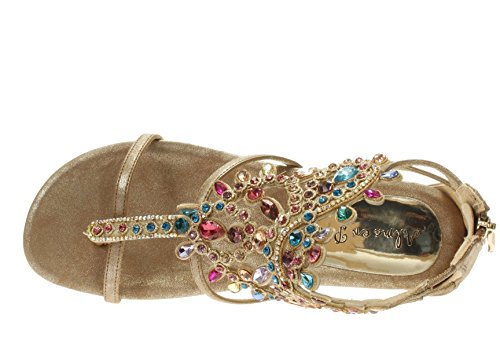 Alma en Pena Donna Infradito 315 BRONZE Sandalo infradito con strass Platino