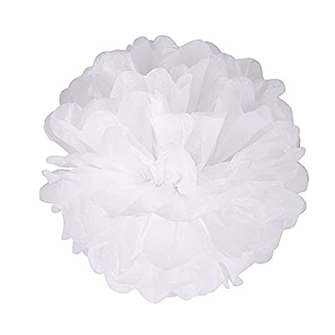 15pcs 8'' Pompon Papier de Soie Suspendre Suspension Pom Poms Fleur Papier Pompon Boule Deco Decoration Fete Anniversaire Mariage Baby Shower Bapteme Blanc / Rose