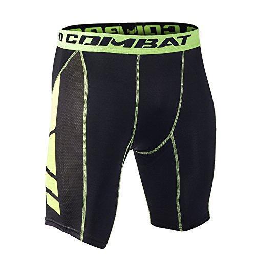 Honey Bee Pantalones Cortos de Compresión de Media Pierna para Deportes, Correr y Entrenamiento de Gimnasio SM008GNM