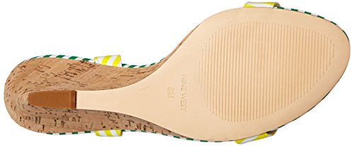Nine West Kiani synthétique Wedge Sandal White/Yellow/White/Green