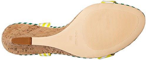 Neuf West Kiani Synthétique Blanc / Jaune / Blanc / Vert Sandales Compensées