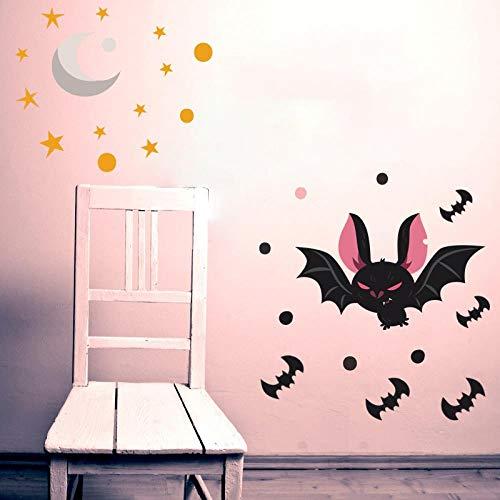 dadasite Tapete Kinderzimmer Schlafzimmer Halloween Dekoration Fledermaus Aufkleber Selbstklebend Star Moon Graffiti