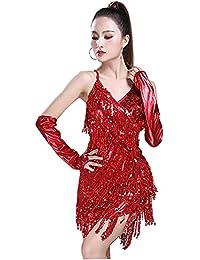 Daytwork Latino Sala de Ballo Danza Abiti Vestito Donna - Paillettes Frange  Gonna Senza Maniche Halter f1d204c9c8b